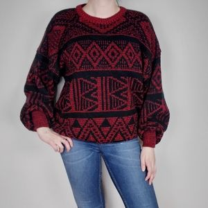 Vintage red and black sweater with puffy sleeves